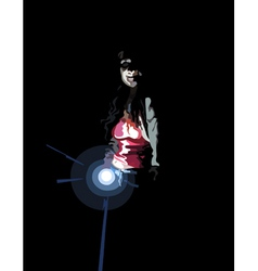Woman with a flashlight in the dark vector