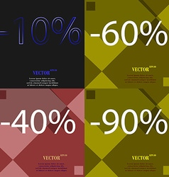 60 40 90 icon set of percent discount on abstract vector