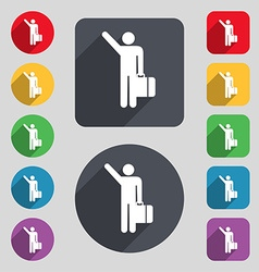 Tourist icon sign a set of 12 colored buttons and vector