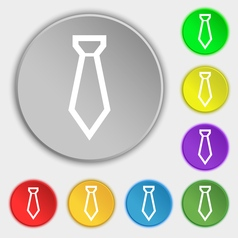 Tie icon sign symbol on eight flat buttons vector