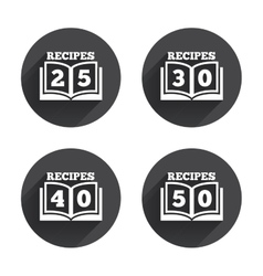 Cookbook icons fifty recipes book sign vector