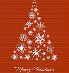Christmas tree from white snowflakes on red vector