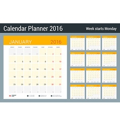 Calendar Set for 2016 Year Stationery Design Print vector image