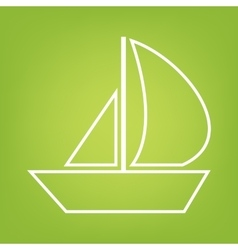 Sail boat line icon vector