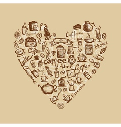Coffee time heart vector