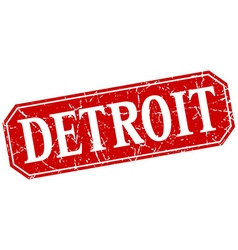 Detroit red square grunge retro style sign vector
