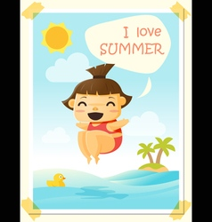 Enjoy tropical summer holiday with little girl 3 vector