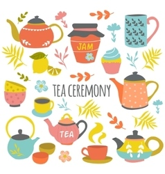 Tea Ceremony Hand Drawn Composition vector image