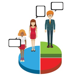 A pie graph with people vector image