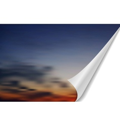 Abstract cloudscape with folded edge vector