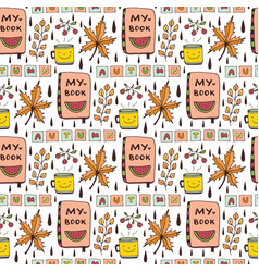 Autumn seamless pattern with funny doodles cute vector