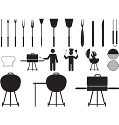 Barbecue grill and tools vector image vector image