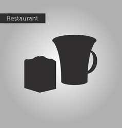 Black and white style icon cup and pie vector