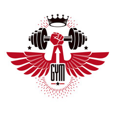 bodybuilding weightlifting gym logotype sport vector image vector image