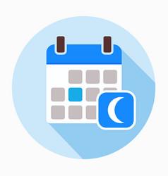 Calendar with moon icon vector