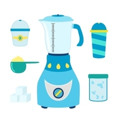 Cartoon set for coctails smoothie with blender vector