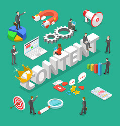 Content is king flat isometric concept vector