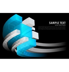 Dark background with 3d element vector image vector image