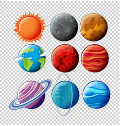 Different planets in solar system on transparent vector