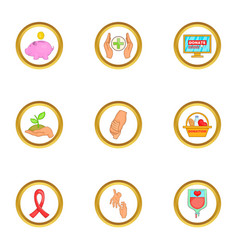 Donor donate icons set cartoon style vector