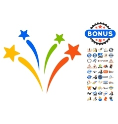 Fireworks icon with 2017 year bonus pictograms vector