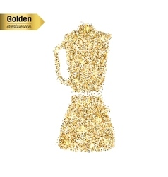 Gold glitter icon of blender isolated on vector