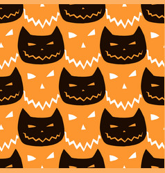 halloween seamless pattern with cats vector image vector image