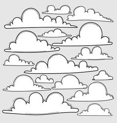 Hand drawn clouds set vector