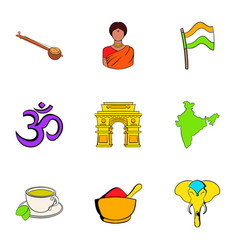 indians icons set cartoon style vector image vector image