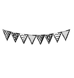 Line party flags to decoration happy birthday vector