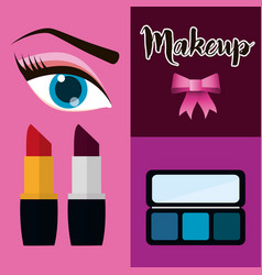 makeup cosmetic woman set vector image