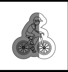 Man athlete in bicycle avatar character vector