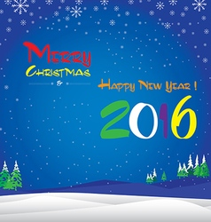 Merry Christmas and Happy New Year 2016 The white vector image