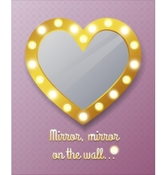 Mirror in shape of heart on wall vector image