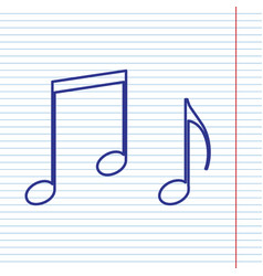 music notes sign navy line icon on vector image vector image