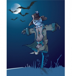 night scarecrow vector image vector image