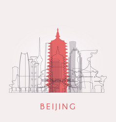 Outline beijing skyline vector