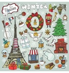 Paris winterDoodle christmas symbolsColored vector image vector image