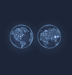 planet earth from two sides vector image