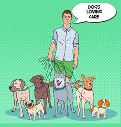 Pop art man dog walker pets care vector