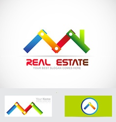 Real estate construction business logo vector image vector image