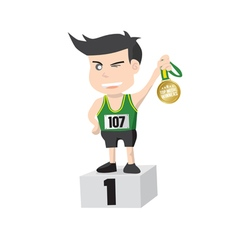 Runner Athlete Showing Golden Medal Winner vector image vector image