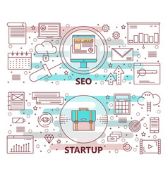 Set of modern thin line seo and startup vector