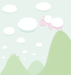 Sheep standing on top of a mountain looking at the vector