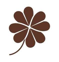 silhouette of clover four leaves in brown color vector image