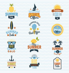 Summer seasonal sale shopping offer logo badge vector