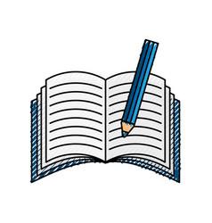 Text book with pencil vector
