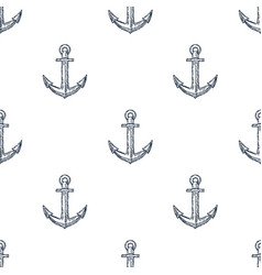 Vintage anchor hand drawn seamless pattern vector