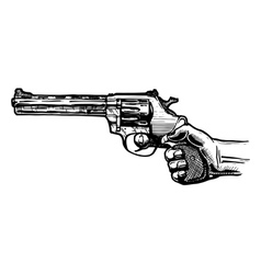 Men hand with revolver pistol vector
