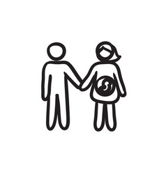 Husband with pregnant wife sketch icon vector